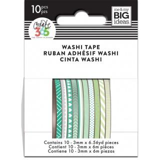 Green Hues - Skinny Washi Tape