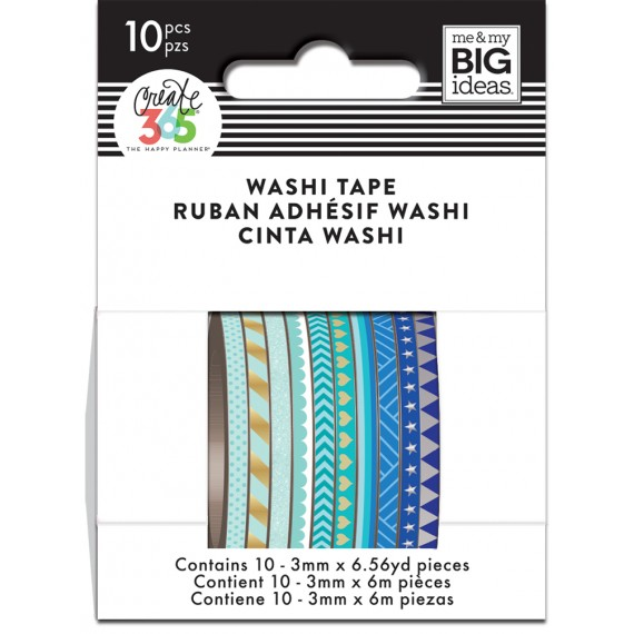 Blue Hues - Skinny Washi Tape